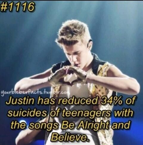 JB Fact 1116: Justin has reduced 34% of teenage suicides with the songs Be Alright and Believe.See: he's not all bad!!