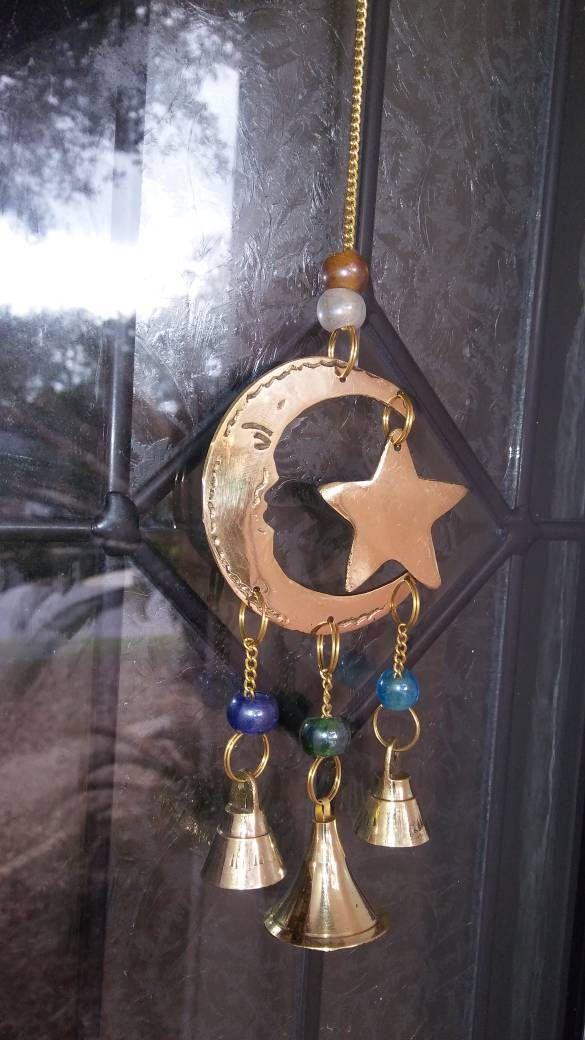 Moon and Star Windchime. Brass Moon and Stars, Wiccan Windchime, Moon Windchime, Altar Chimes, Altar Bells, hippie Windchime, boho windchime by LunaZingara on Etsy