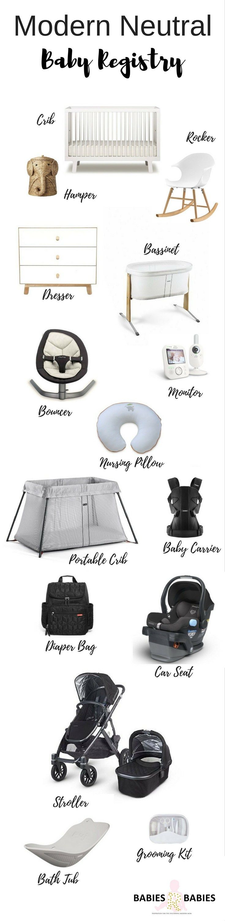 This baby checklist includes baby registry items you need to create a modern neutral nursery for your baby.