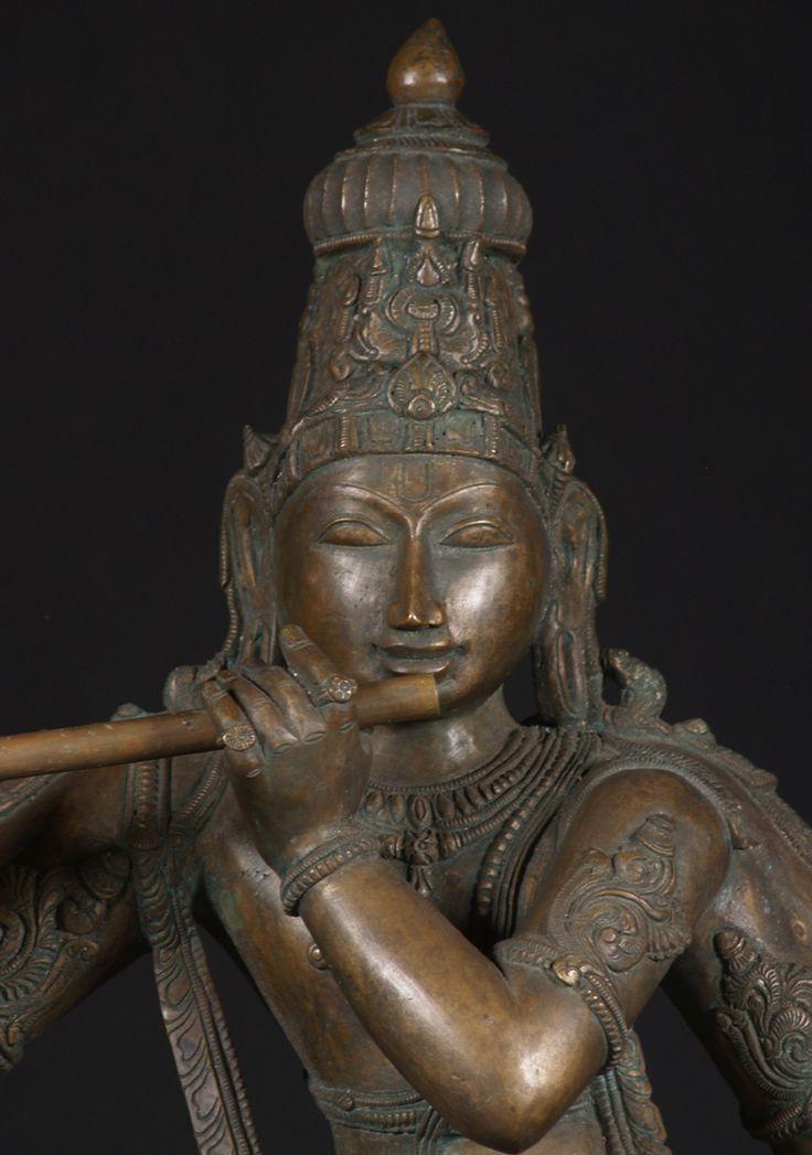 "Detail Vishnu Krishna Statue, Bronze Venugopal 38""   Lost Wax Method South Indian Bronze   http://www.lotussculpture.com/49b1.html"