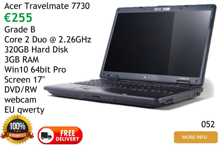 Acer Travelmate 7730 Laptop Computer for sale free delivery mainland Spain, local pickups  Malaga area Frigiliana Nerja Torrox Competa