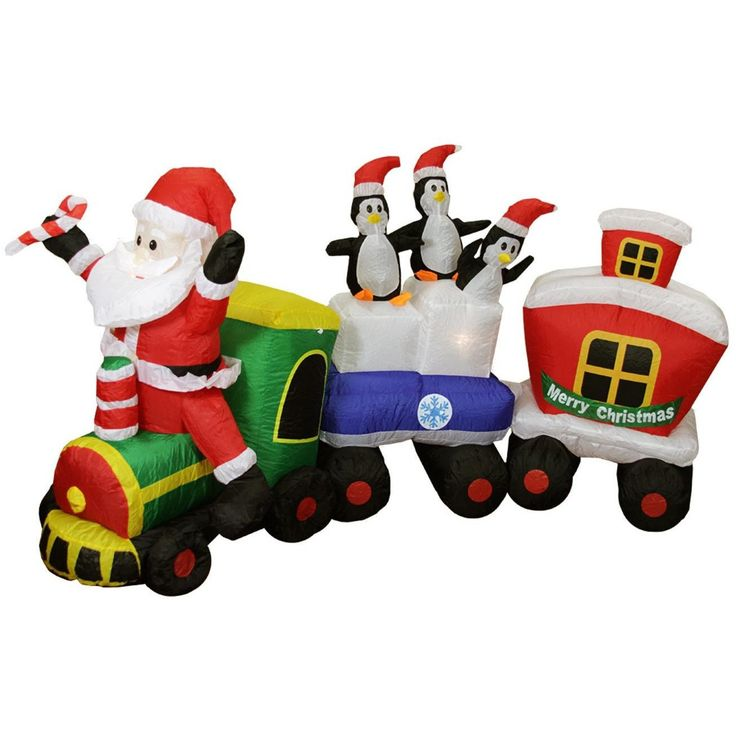 LB International 6' Inflatable Santa Claus Train Lighted Christmas Yard Art Decor 31103654
