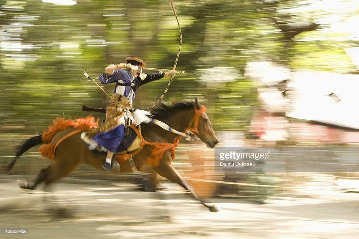 ストックフォト : Mounted archer during Yabusame, at Kamakura Matsuri nnual festival, Kamakura, Kanagawa Prefecture, Honshu island, Japan