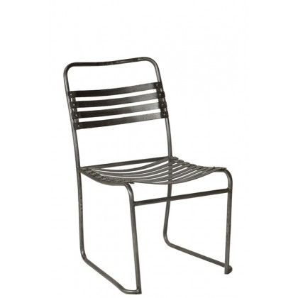 INDUSTRIAL CHAIR W/ STRIPS FINISH W/ RAW METAL L18*W23*H36 - Dining Chairs - Seating - Products