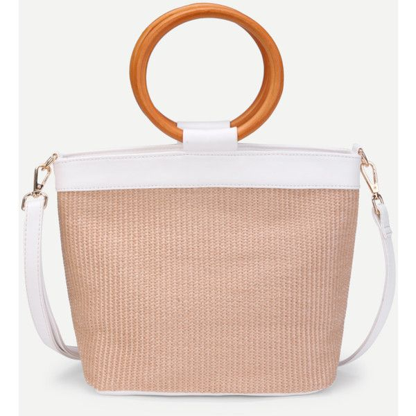 Weave Shoulder Bag With Wood Handle (1,415 INR) ❤ liked on Polyvore featuring bags, handbags, shoulder bags, wood handle purse, wooden handle handbags, shoulder handbags, shoulder bag handbag and shoulder hand bags