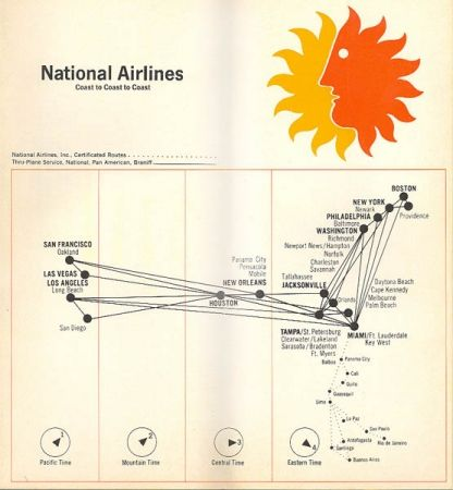 National Airlines 1968 route map ... Coast to Coast to Coast