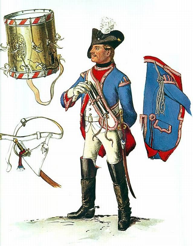 """Army of Frederick the Great: Drummer, Dragoon No 5 Bayreuth by Adolph Menzel, from """"Die Armee Friedrichs des Grossen in ihrer Uniformierung""""  Formed in 1717 as the Dragoon Regiment No.5 'Bayreuth' (Dragoner-Regiment Nr.5 Bayreuth Dragoner) it remained a part of the Prussian order of battle until 1918."""