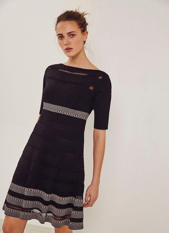 Vestido de punto con dibujo calado - Vestidos | Adolfo Dominguez shop online