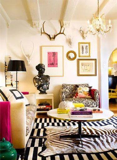 black white pink gold living room decor interior design, madeline weinrib rug
