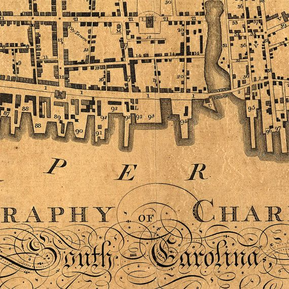 Charleston map 1788 Old map of Charleston SC 4 by RobertsMaps