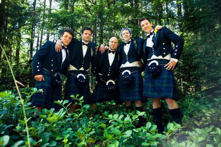 Groom and groomsmen in kilts!