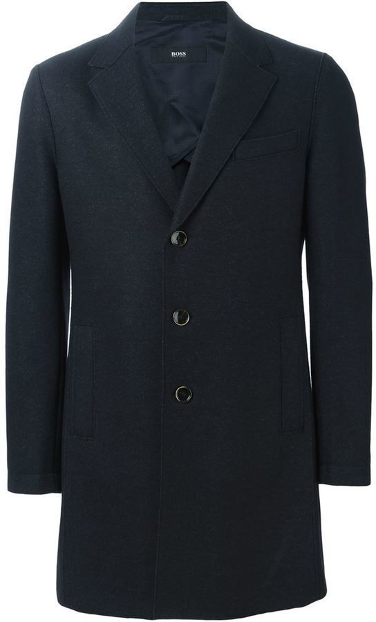 $534, Boss Hugo Boss Single Breasted Coat. Sold by farfetch.com. Click for more info: https://lookastic.com/men/shop_items/378954/redirect