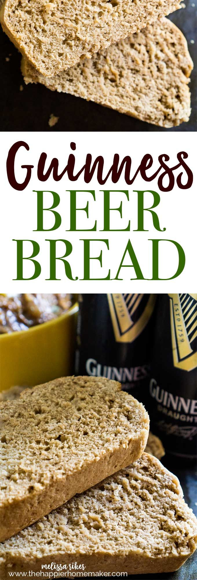 Easy Guinness Beer Bread has just three ingredients and a rich, sweet flavor that only Guinness can give!