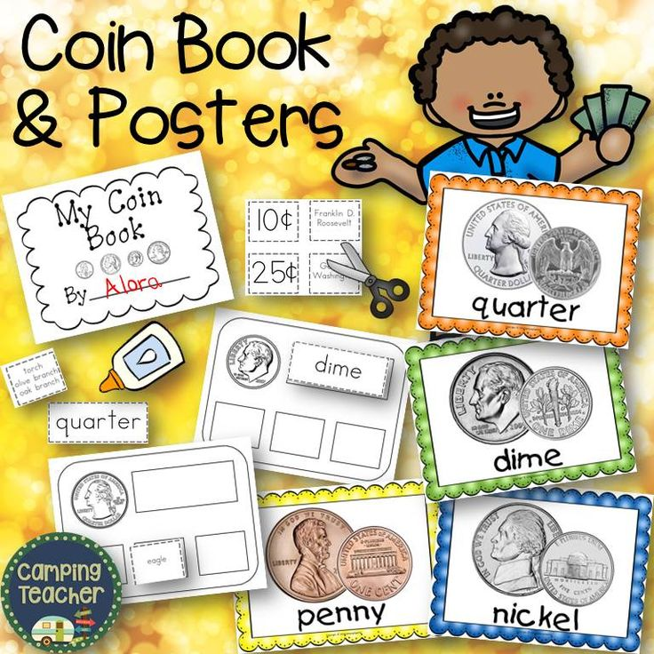 Coin book and Posters for Kindergarten, First Grade, and Second Grade. Great for teaching little ones about money.