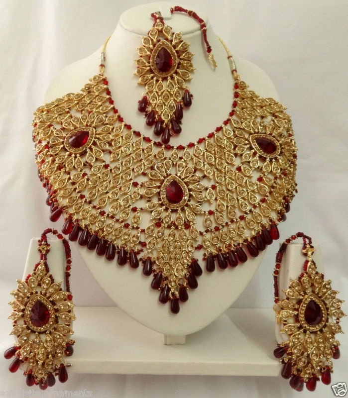 Details About Indian Bollywood Bridal Kundan Diamante Necklace Set Fashion Jewelry ECL A5115
