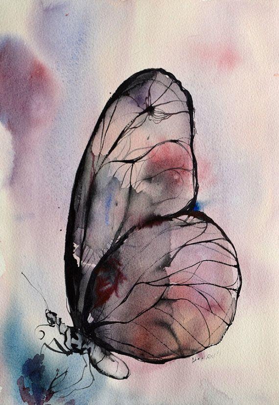 Purple butterfly watercolor painting. Original by AlisaAdamsoneArt