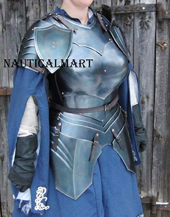 Medieval Gorget and Pauldron armor set hand made spaulders knight SCA