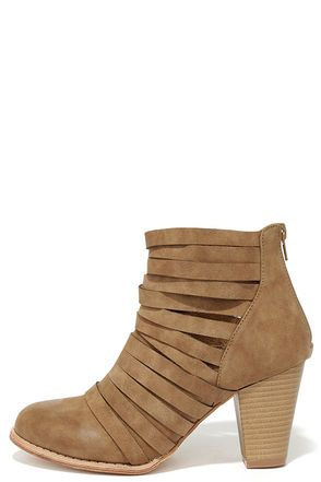 """To """"summit"""" up, the Mountain Peeks Beige Strappy Ankle Boots are the cutest booties this side of the Rockies! Burnished vegan leather shapes an almond toe, and stacks up into a chic, strappy design. 4.5"""" shaft with heel zipper. 3"""" wood-look heel. Cushioned insole. Nonskid rubber sole. Available in whole and half sizes. Measurements are for a size 6. All vegan friendly, man made materials. Imported."""
