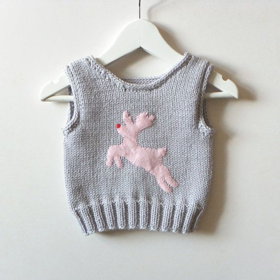 Pink deer baby vest warm merino toddlers vest with deer by Tuttolv