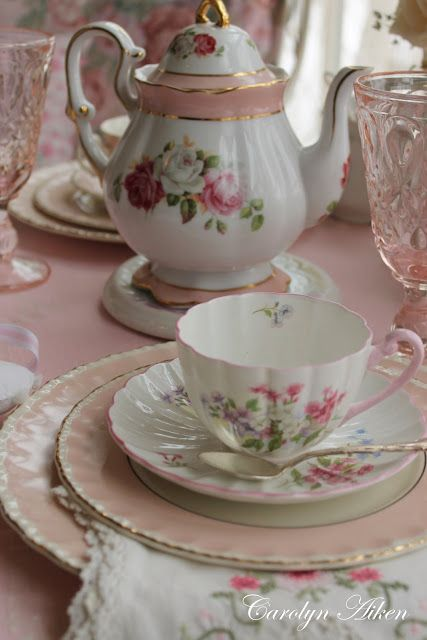 """Time for tea. My Aunt Marzine would set up a little tea party when we went for a visit. """"Mormon Tea"""" and little cookies. the tea was just hot water in a teapot and we added cream and sugar--and thought it was the BEST!"""