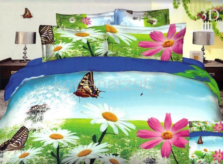 Pościele z mikrowłókna niebieskie na łóżko w kolorowe kwiatki