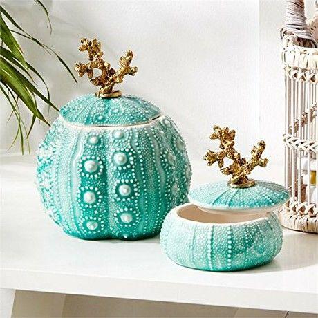 Set Of 2 Ceramic Gold Coral And Seafoam Sea Urchin Decorative Trinket Jar Holders