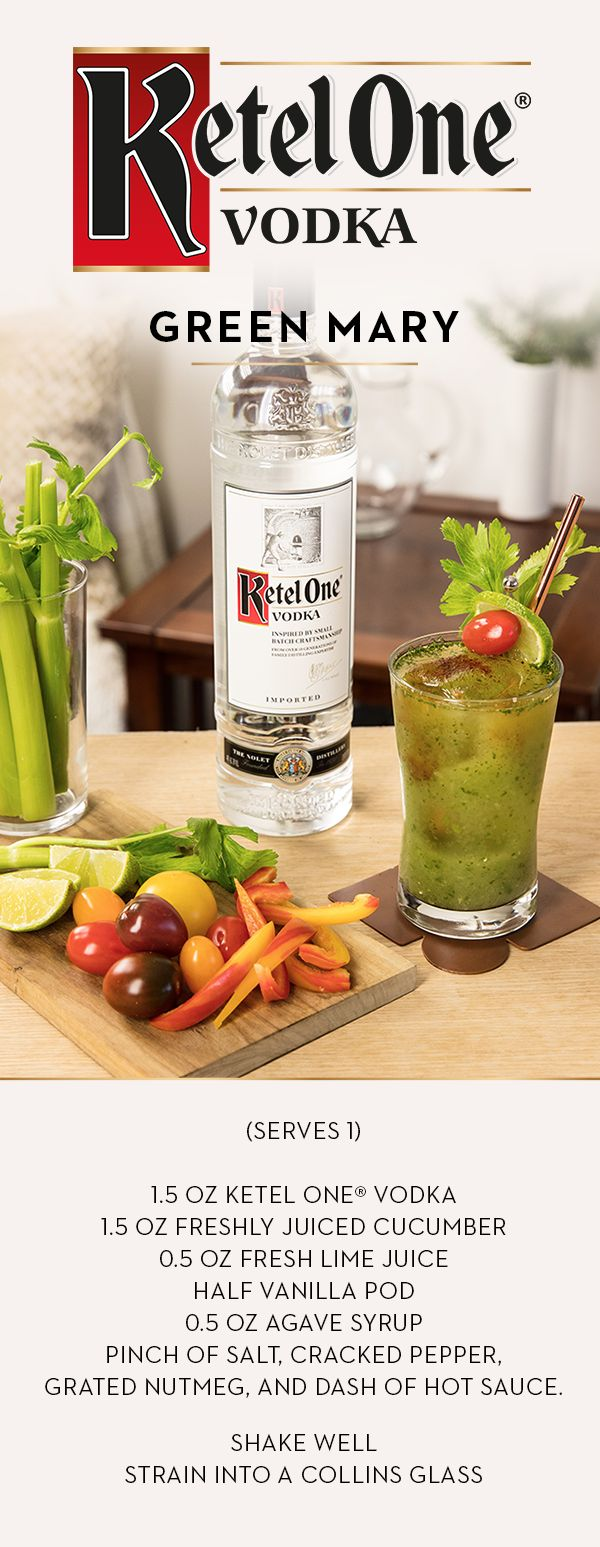 Start your holidays with Ketel One's twist on a classic cocktail that friends and family are sure to enjoy. Craft a Green Mary with Ketel One® Vodka, made with 100% non-GMO grain. Combine 1.5 oz Ketel One® Vodka, 3 oz freshly juiced equal parts of celery and cucumber, 0.5 oz fresh lime juice, and 1 pinch of rock salt, pepper, cinnamon, nutmeg and dried chili flakes in a shaker. Shake well, strain into a Collins glass, and enjoy an alternative to sweets and sugars this season.