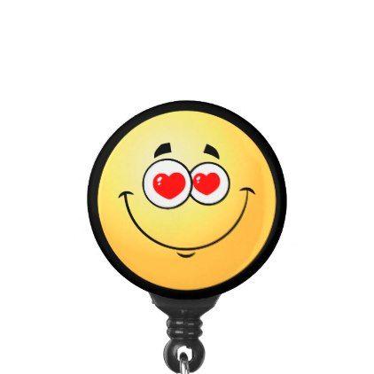 Heart Eyes Love Emoji Name Badge Holder - love gifts cyo personalize diy