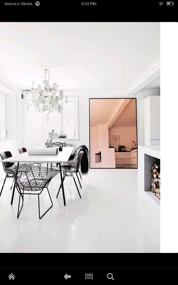 Cool and interesting: white and black interior copper  mirror