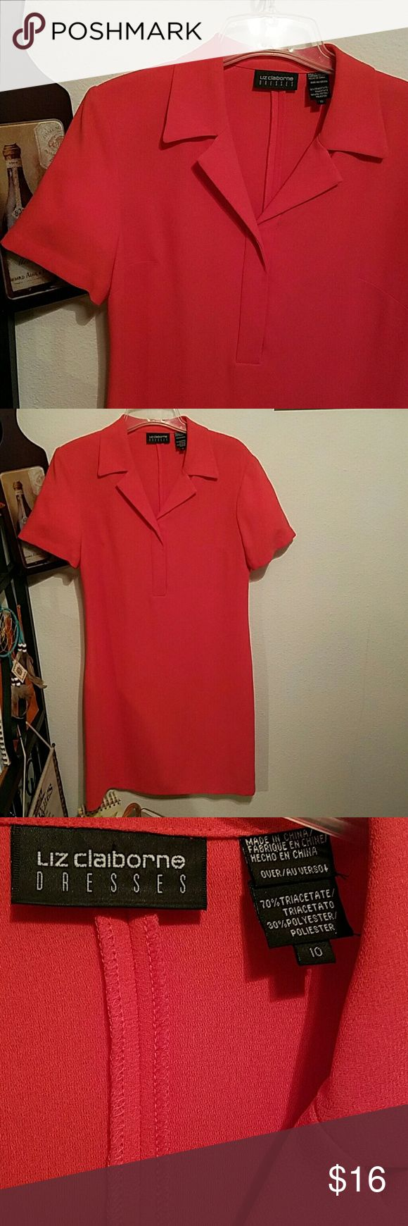 Liz Claiborne Polo Style Dress Super stylish coral polo dress can be dressed down or dressed up depending on your mood.  - Size 10 - Only worn a few times, great shspe - Polyester blend fabric is very lightweight  - Pleated back for a slimming effect Liz Claiborne Dresses