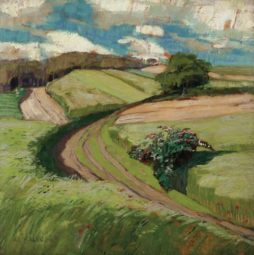 AloisKalvoda(Czech, 1875-1934), Field Road, Javornice. Oil on cardboard, 30 x 30cm.