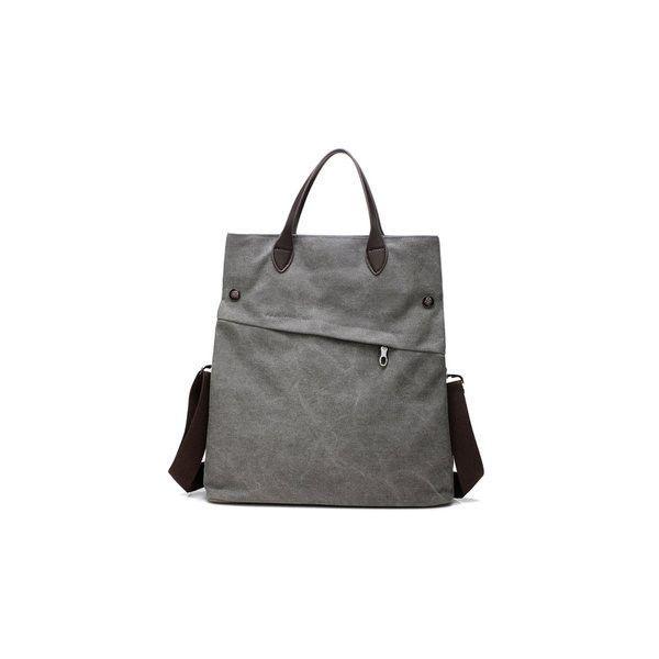 Canvas Dual-use Handbag Rucksack Shoulder Bag Shopping Bag Satchel Bag ($19) ❤ liked on Polyvore featuring bags, handbags, grey, grey purse, canvas backpack, grey handbags, man shoulder bag and satchel handbags