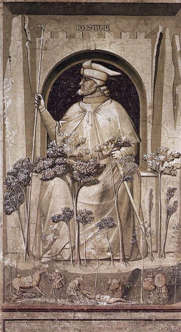 The Seven Vices: Injustice    1306  Fresco, 120 x 60 cm  Cappella Scrovegni (Arena Chapel), Padua  Giotto