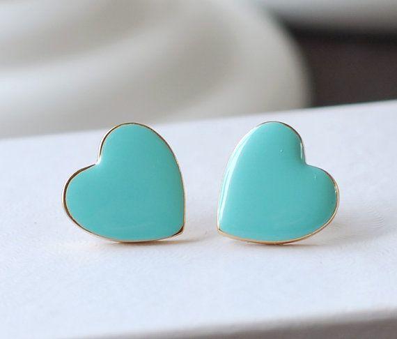 Heart Stud Earrings, Robin Egg Blue Tiffany Blue Heart Post Earrings. 18K Gold plated Enamel Heart  Earrings Valentine's Day Gift