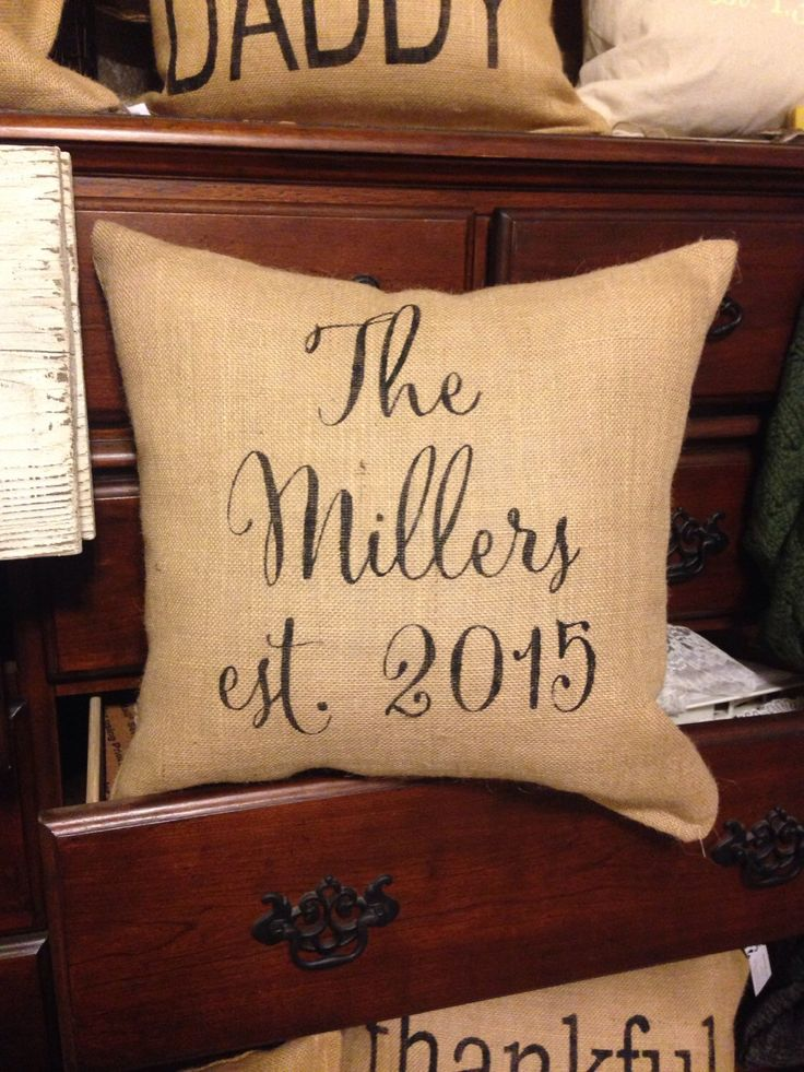 Burlap pillow by burlapheartstrings on Etsy https://www.etsy.com/listing/260436762/burlap-pillow-family-name-pillow