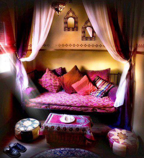 Meditative, Yoga, Guest Room, Moroccan, Iron Bed