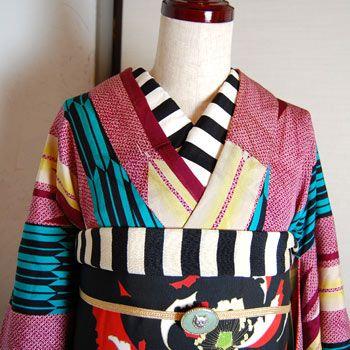 yabane kimono with striped haneri and obiage