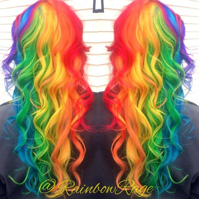 Super pretty long curly bright (almost neon) rainbow hair color! I think I'm in love!!