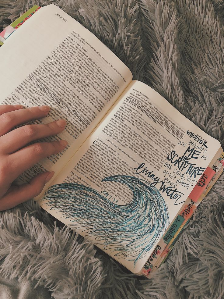 Bible journaling by Emily Sloan  John 7:38  #biblejournaling #biblestudy #Biblefun #biblejournalingcommunity #bibleverses #diy #craft #creativity #johnverses #art #bible #drawing