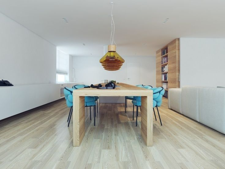 Apartment, Dining Space Decoration Applied In Russian Q3 Apartment With Length Wooden Table Added Pendant Light And Sugar Apple Fruit Ideas: Surprising Yacht Interior Design Applied in Russian Q3 Apartment