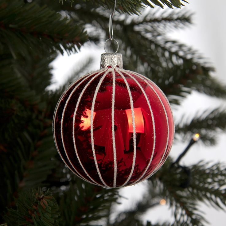 Scandinavian red glass christmas bauble