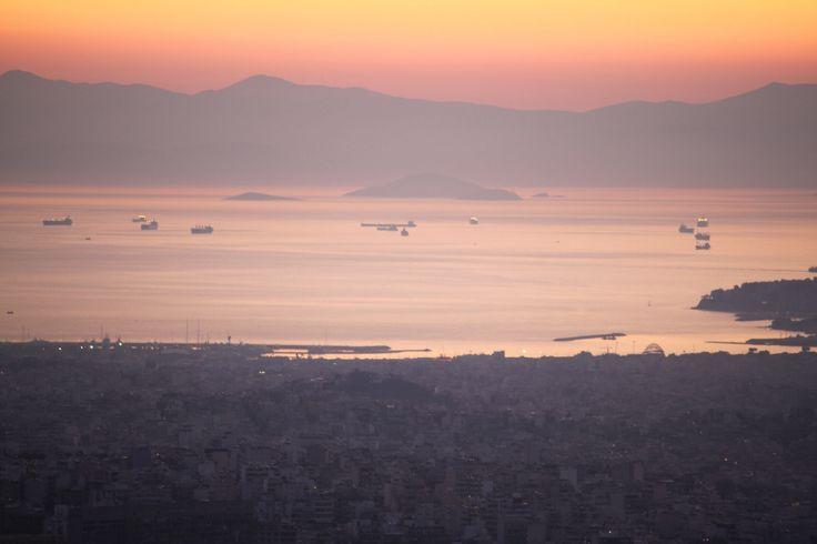 Sunset view of Faliro, Athens, Greece