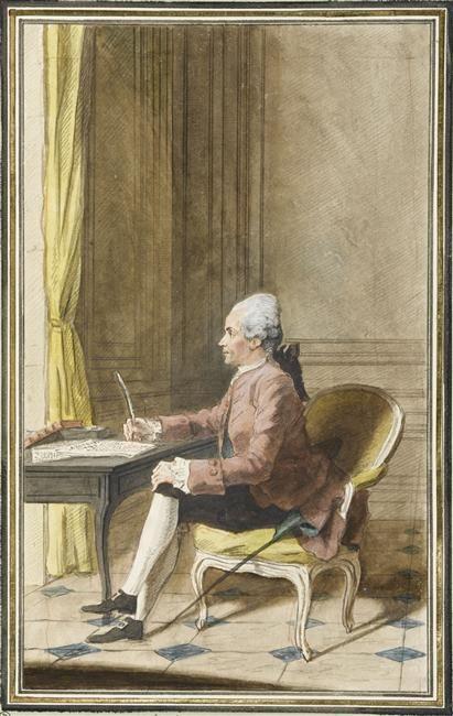 Portrait de Laurent Angliviel de La Beaumelle,assis,de profil, sur un fauteuil, devant une table, portant uneperruque et une épée, avec une lettre et tenant une plume, dans un salon, 1772 Louis Carrogis dit Carmontelle