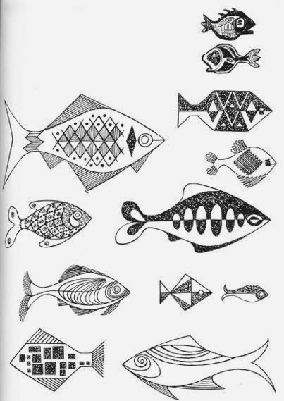 Fish from Inspiration For EmbroiderybyConstance Howardpublished in 1966.