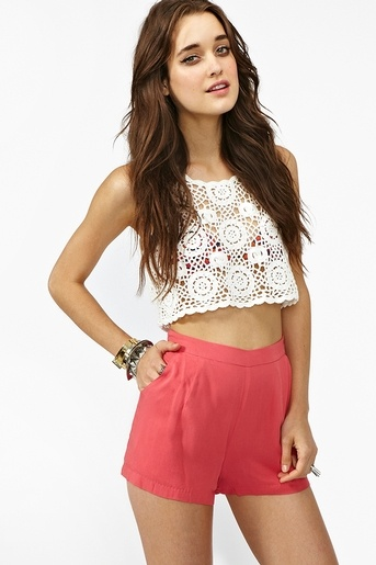 Lace Crop Top and coral shorts