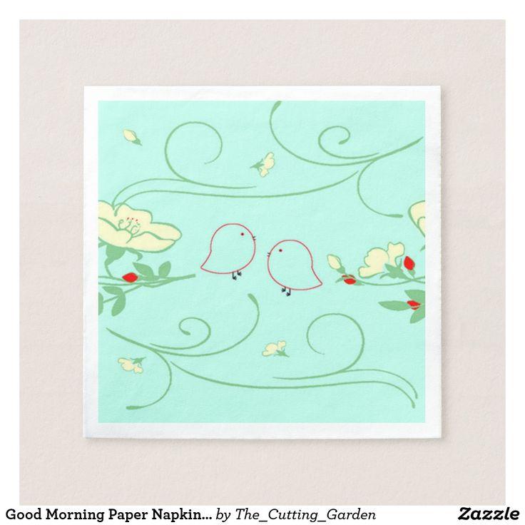 Good Morning Paper Napkins on Sky Blue