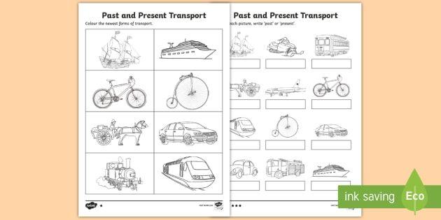 Past And Present Transport Worksheet Transport Worksheet Transportation Transport Activities Printable transportation worksheets for