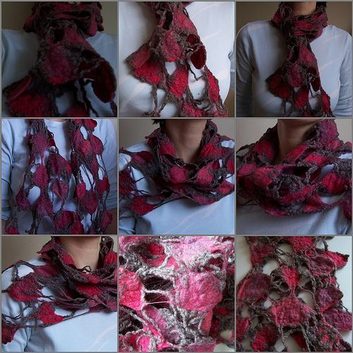 Net, felt scarf   by red2white   Monika Lamacka   Flickr