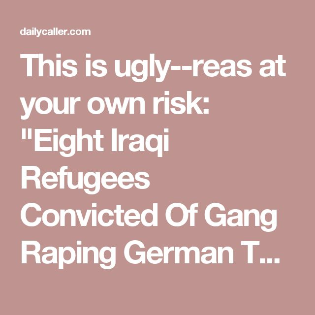 "This is ugly--reas at your own risk:  ""Eight Iraqi Refugees Convicted Of Gang Raping German Tourist 