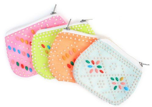 Beaded coin purses where the little plastic beads are bonded to the fabric of the purse itself!